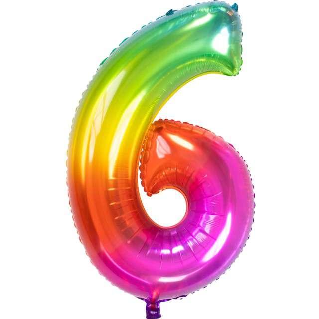 """Balon foliowy """"Yummy Gummy Rainbow Numer 6"""", tęczowy, Folat, 34"""""""