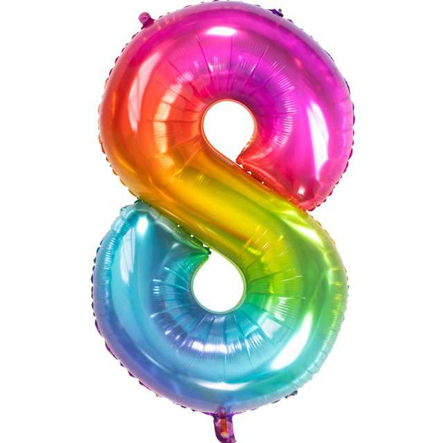 """Balon foliowy """"Yummy Gummy Rainbow Numer 8"""", tęczowy, Folat, 34"""""""