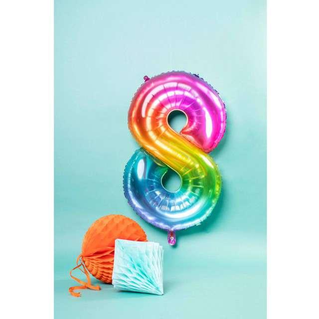 Balon foliowy Yummy Gummy Rainbow Numer 8 tęczowy Folat 34