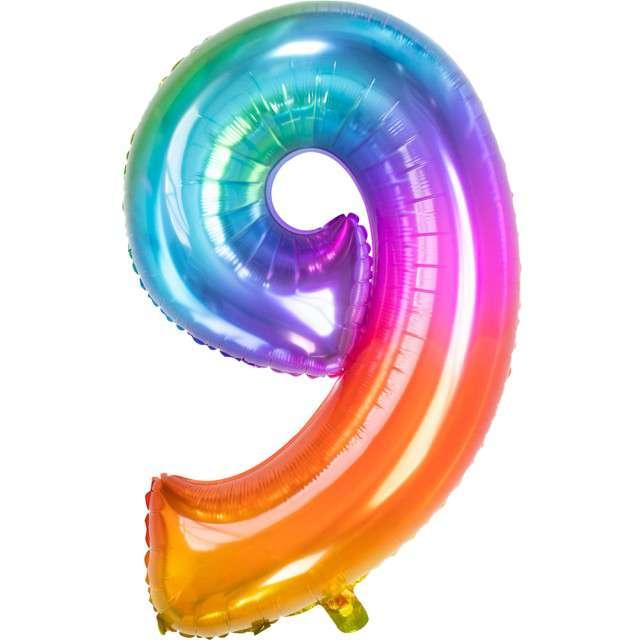 """Balon foliowy """"Yummy Gummy Rainbow Numer 9"""", tęczowy, Folat, 34"""""""