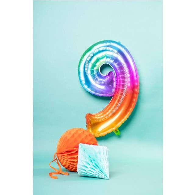 Balon foliowy Yummy Gummy Rainbow Numer 9 tęczowy Folat 34
