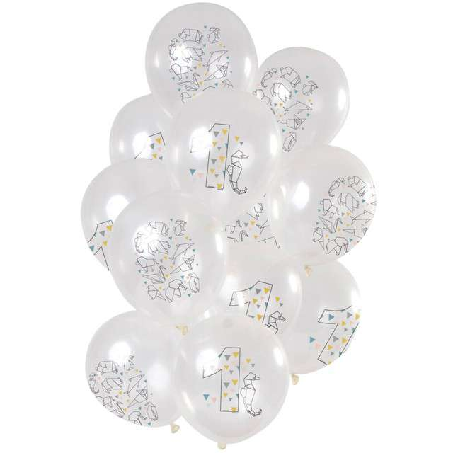 "Balony ""Origami Roczek"", transparentne, Folat, 12"", 12 szt"