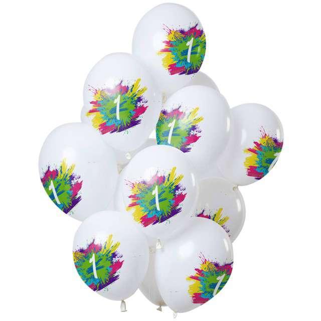 "Balony ""Roczek - color splash"", biały, Folat, 12"", 12 szt"