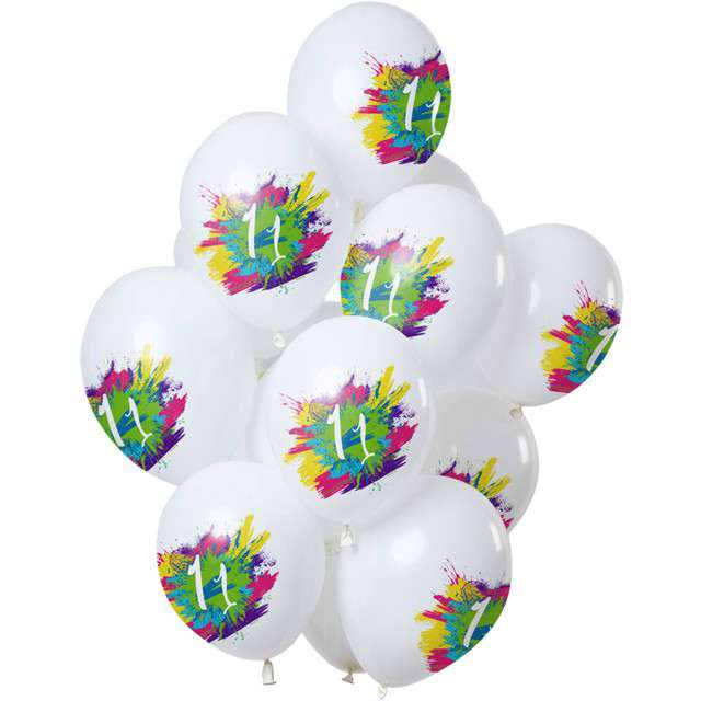 "Balony ""11 Urodziny - color splash"", biały, Folat, 12"", 12 szt"
