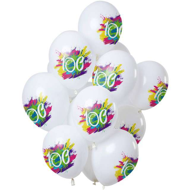 "Balony ""100 Urodziny - color splash"", biały, Folat, 12"", 12 szt"