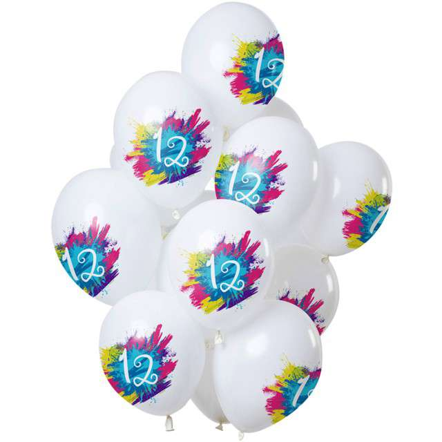 "Balony ""12 Urodziny - color splash"", biały, Folat, 12"", 12 szt"