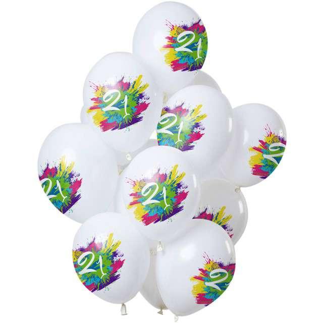 "Balony ""21 Urodziny - color splash"", biały, Folat, 12"", 12 szt"