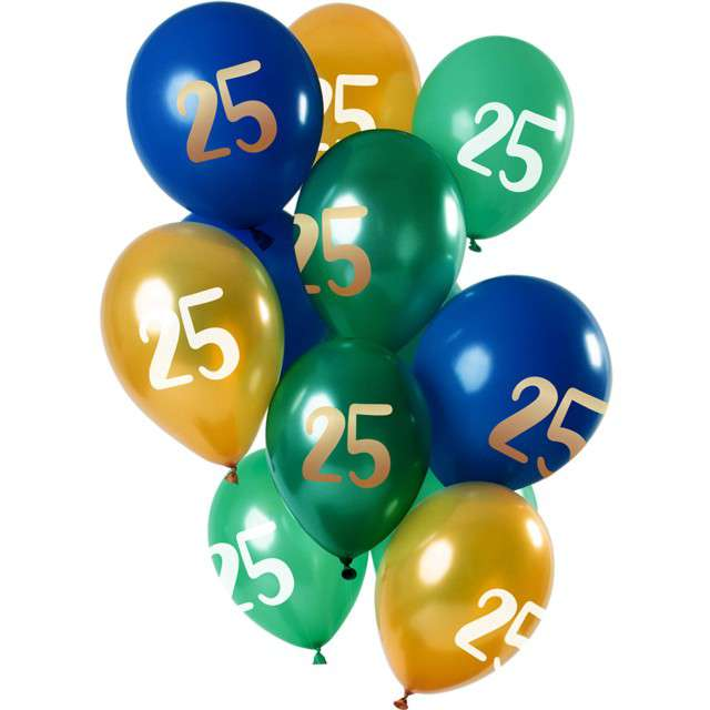 """Balony """"25 Urodziny"""", mix, Folat, 12"""", 12 szt"""
