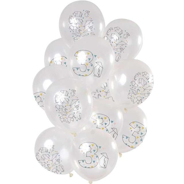 """Balony """"Origami 3 urodziny"""", transparentne, Folat, 12"""", 12 szt"""