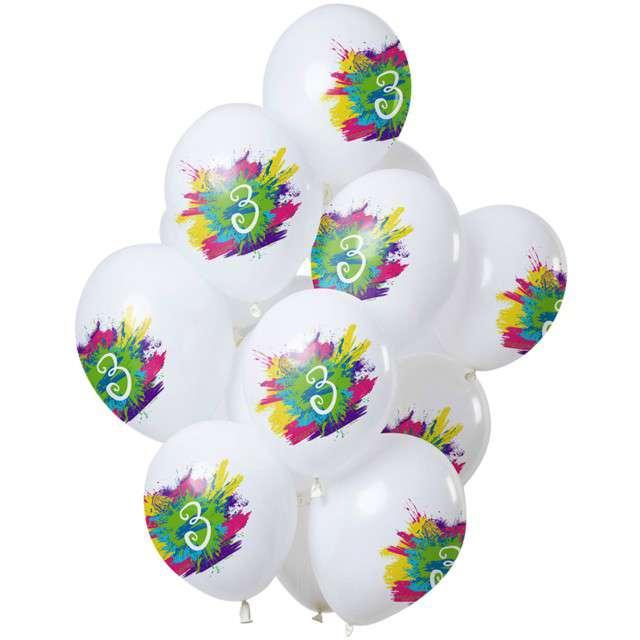 "Balony ""3 Urodziny - color splash"", biały, Folat, 12"", 12 szt"