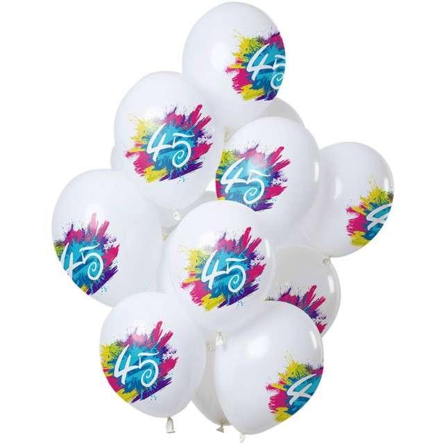 "Balony ""45 Urodziny - color splash"", biały, Folat, 12"", 12 szt"