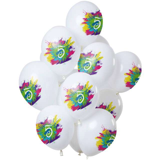 "Balony ""5 Urodziny - color splash"", biały, Folat, 12"", 12 szt"