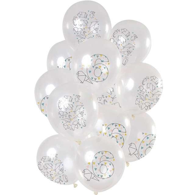 """Balony """"Origami 6 urodziny"""", transparentne, Folat, 12"""", 12 szt"""