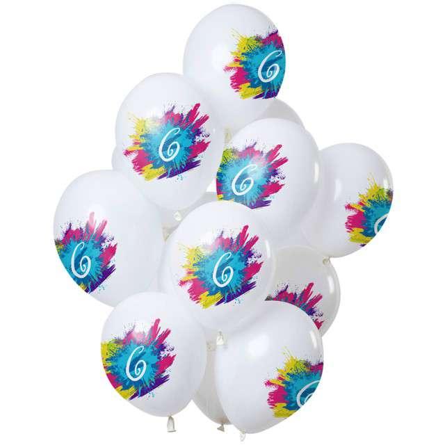 "Balony ""6 Urodziny - color splash"", biały, Folat, 12"", 12 szt"