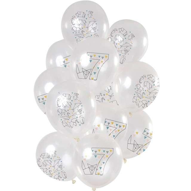 """Balony """"Origami 7 urodziny"""", transparentne, Folat, 12"""", 12 szt"""
