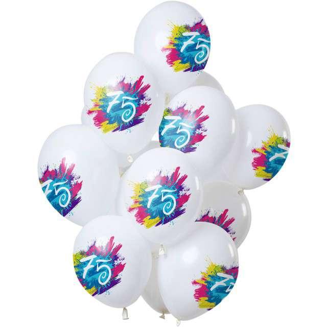 "Balony ""75 Urodziny - color splash"", biały, Folat, 12"", 12 szt"
