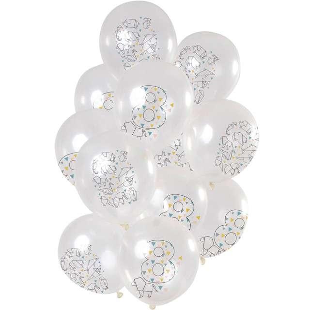 """Balony """"Origami 8 urodziny"""", transparentne, Folat, 12"""", 12 szt"""