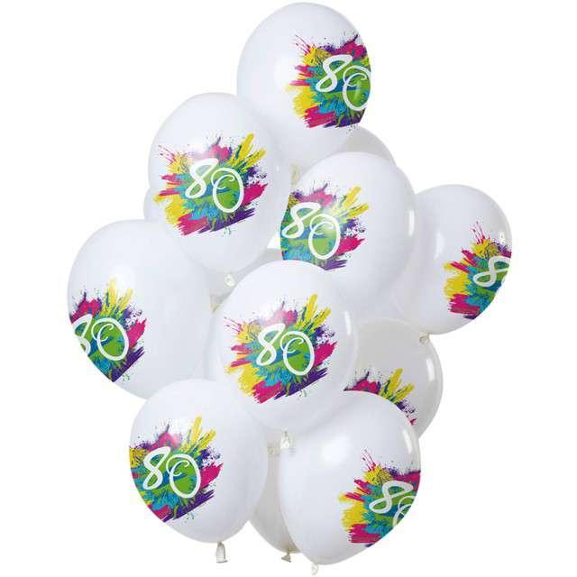 "Balony ""80 Urodziny - color splash"", biały, Folat, 12"", 12 szt"