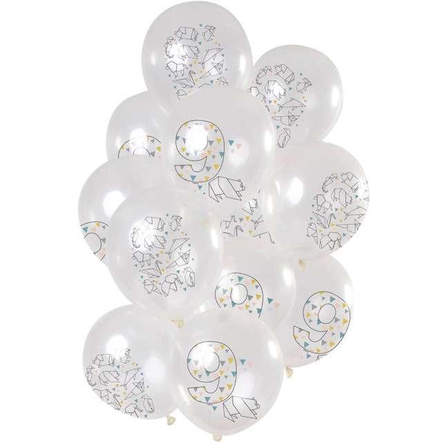 """Balony """"Origami 9 urodziny"""", transparentne, Folat, 12"""", 12 szt"""