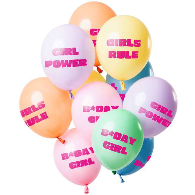 "Balony ""Bday Girl - Urodziny"", mix, Folat, 12"", 12 szt"