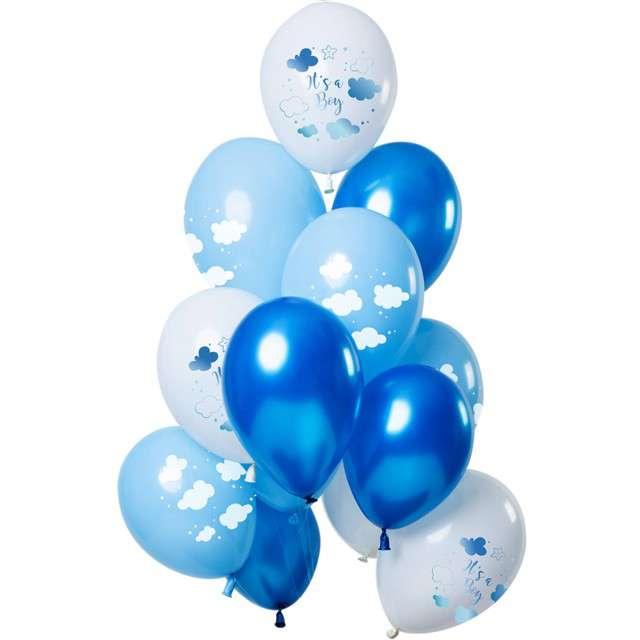 """Balony """"Baby Shower - Its a Boy"""", niebieski. Folat, 12"""", 12 szt"""
