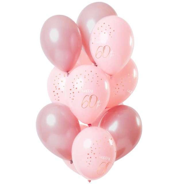 "Balony ""Happy 60th - elegant"", różowy, Folat, 12"", 12 szt"