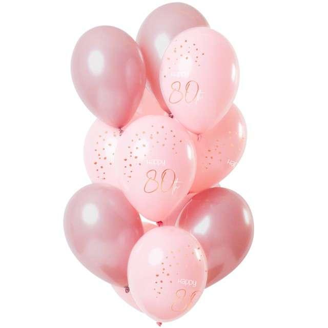 "Balony ""Happy 80th - elegant"", różowy, Folat, 12"", 12 szt"