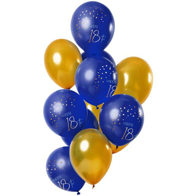 "Balony ""Happy Birthday 18 - elegant"", mix, Folat, 12"", 12 szt"