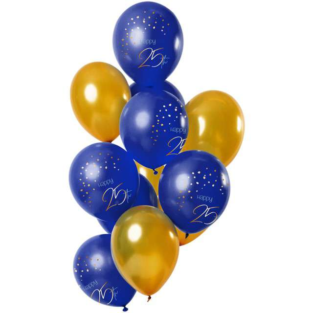 "Balony ""Happy Birthday 25 - elegant"", mix, Folat, 12"", 12 szt"