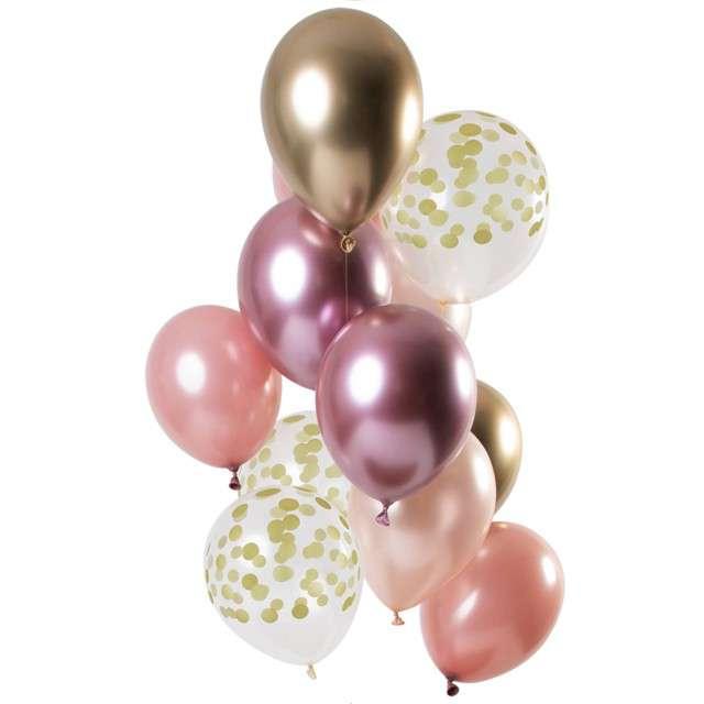 "Balony ""Dekoracyjny różowy mix"", mix, Folat, 12"", 12 szt"