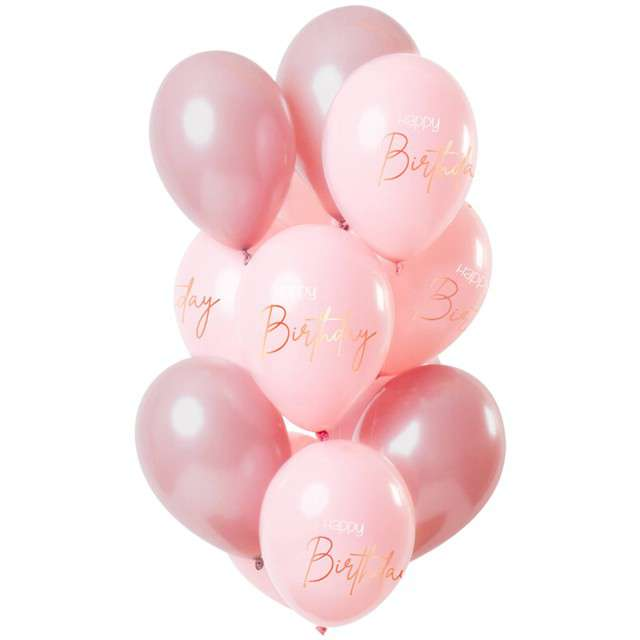 "Balony ""Happy Birthday - Elegant"", różowe, Folat, 12"", 12 szt"