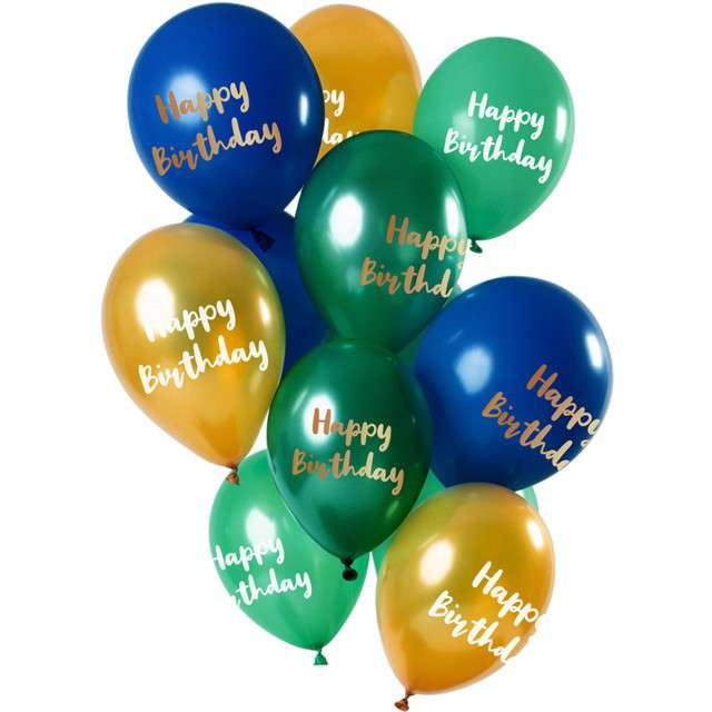 "Balony ""Happy Birthday - Green Gold"", mix, Folat, 12"", 12 szt"