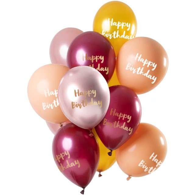 "Balony ""Happy Birthday Pink Gold"", mix, Folat, 12"", 12 szt"