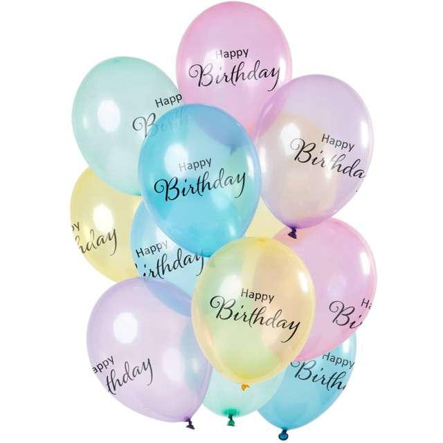 """Balony """"Happy Birthday  - crystal"""", mix, Folat, 12"""", 12 szt"""