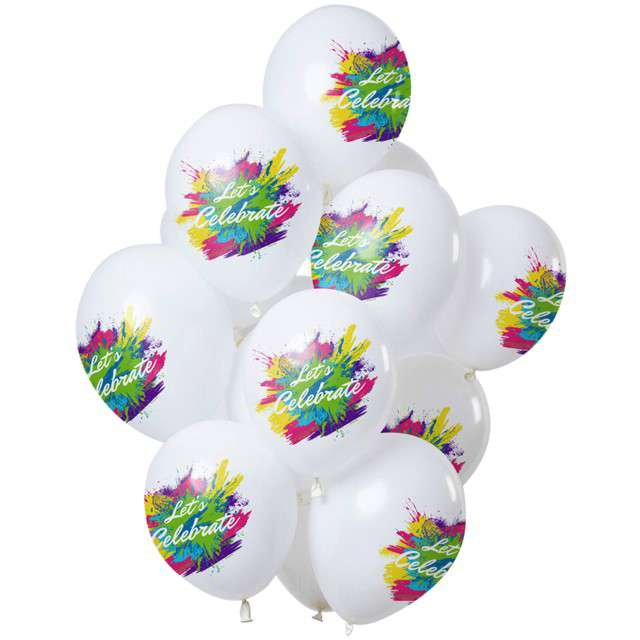 "Balony ""Lets Celebrate- color splash"", biały, Folat, 12"", 12 szt"