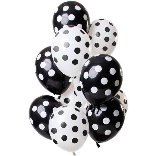 """Balony """"Czarne kropki"""", mix, Folat, 12"""", 12 szt"""