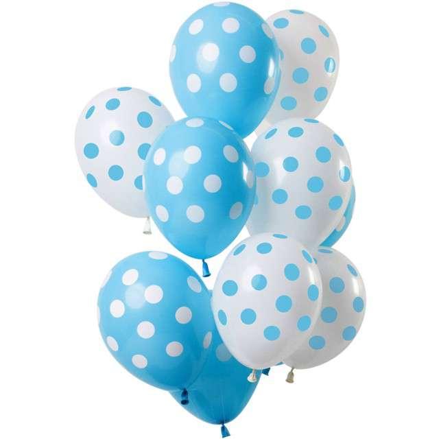 """Balony """"Błękitne kropki"""", mix, Folat, 12"""", 12 szt"""