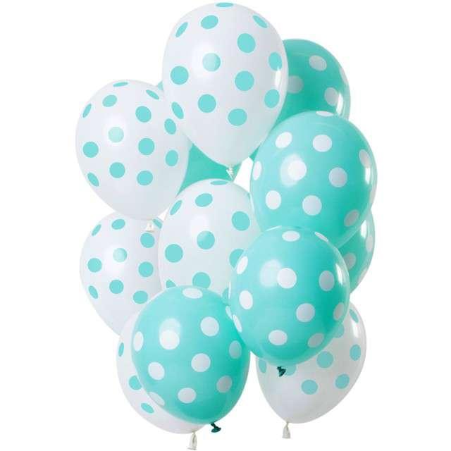 """Balony """"Miętowe kropki"""", mix, Folat, 12"""", 12 szt"""
