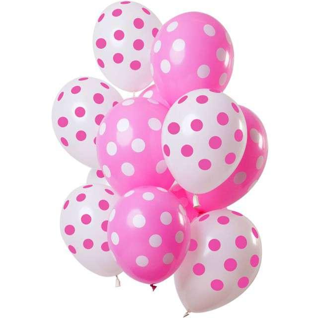 """Balony """"Różowe kropki"""", mix, Folat, 12"""", 12 szt"""
