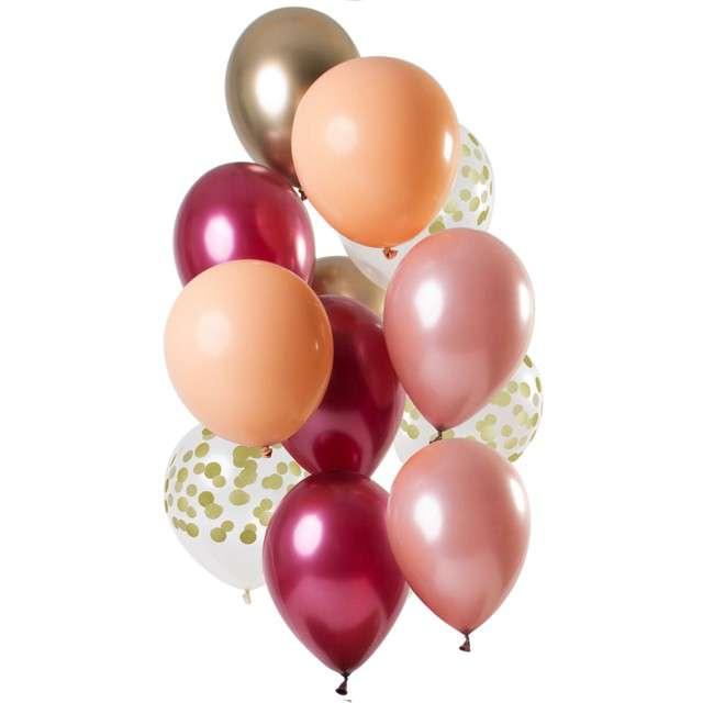 """Balony """"Dekoracyjny bordowy mix"""", mix, Folat, 12"""", 12 szt"""