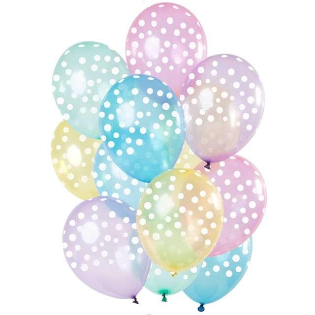 """Balony """"Kropki"""", pastel mix, Folat, 12"""", 12 szt"""