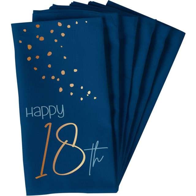 "Serwetki ""Happy 18th - Elegant True Blue"", niebieski, Folat, 33 cm, 10 szt"
