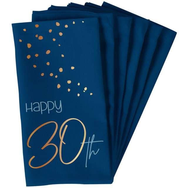"Serwetki ""Happy 30th - Elegant True Blue"", niebieski, Folat, 33 cm, 10 szt"