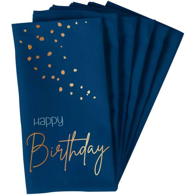 """Serwetki """"Happy Birthday - Elegant True Blue"""", niebieski, Folat, 33 cm, 10 szt"""