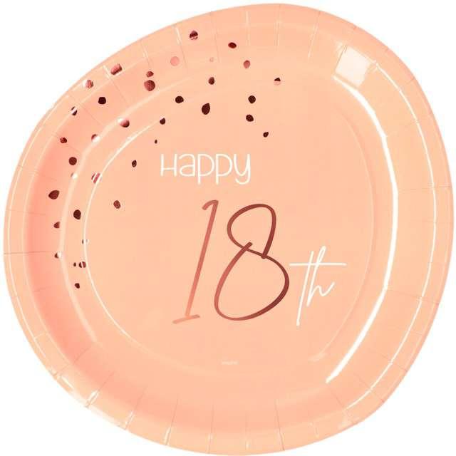 """Talerzyki """"Elegant - Happy Birthday 18"""", różowe, Folat"""