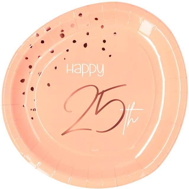 """Talerzyki """"Elegant - Happy Birthday 25"""", różowe, Folat"""
