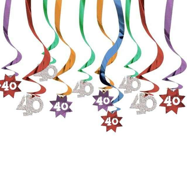 """Świderki wiszące """"40 Urodziny"""", mix, Amscan, 12 szt"""