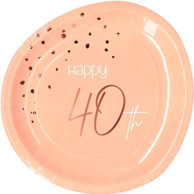 """Talerzyki """"Elegant - Happy Birthday 40"""", różowe, Folat"""