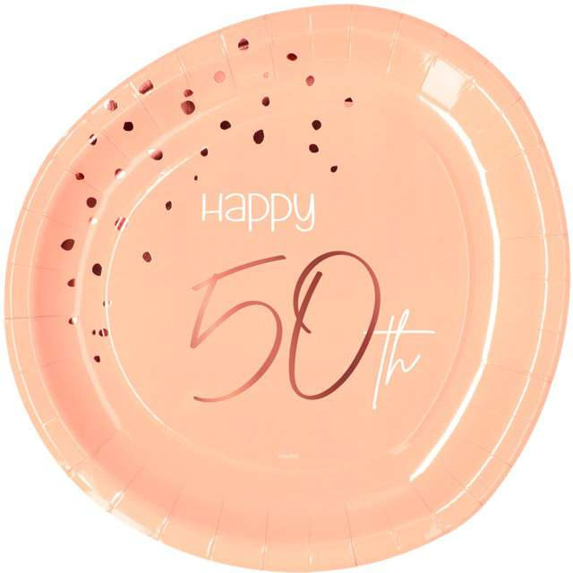 """Talerzyki """"Elegant - Happy Birthday 50"""", różowe, Folat"""
