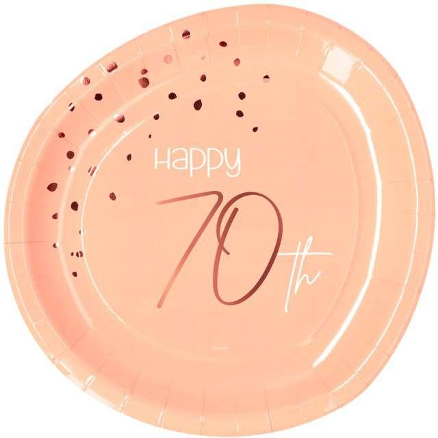 """Talerzyki """"Elegant - Happy Birthday 70"""", różowe, Folat"""